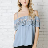 Adria Embroidered Cold-Shoulder Blouse-FINAL SALE