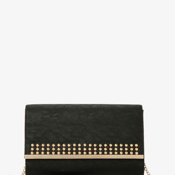 Studded Plate Faux Leather Clutch