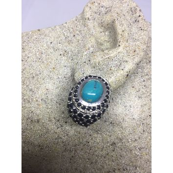 Vintage Handmade Sterling Silver genuine deep blue sapphire and turquoise earrings