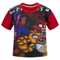 2017 Summer Cartoon Cotton Tees Clothing Casual Five Nights At Freddy FNAF Short Sleeve T Shirts Camiseta Kids Children Clothes