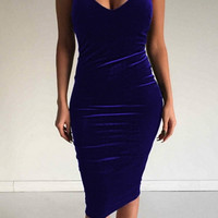 Women's Sleeveless Bodycon Midi Dress Velvet Bandage Dress