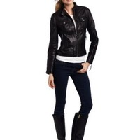 MICHAEL Michael Kors Women's Racer Leather Jacket