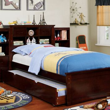 Furniture of america CM7844-T-2-BC-TR452 4 pc Pearland collection dark walnut finish wood captain twin size platform bed with trundle and bookcases
