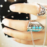 Double Finger Ring with Chain
