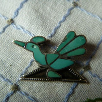 Inlaid Turquoise and Sterling Silver Roadrunner or Bird Pin, Unmarked