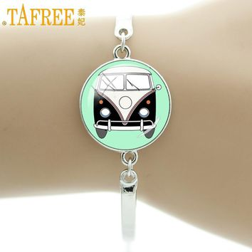 TAFREE Car Bracelets pendant Handmade 2017 Alloy charm bracelets & bangles women men   Hippie Peace Sign Van Bus Jewelry CT114