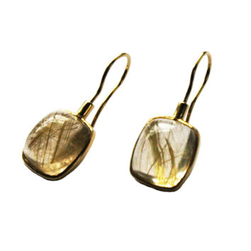 Rectangular Cushion Earrings Rutilated Quartz