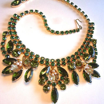 WEISS Green Rhinestone Bib Necklace, Seed Pearls, Signed Vintage