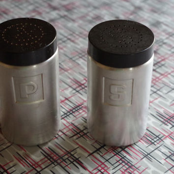 Vintage 1950s Set of Aluminum Salt and Pepper Shakers