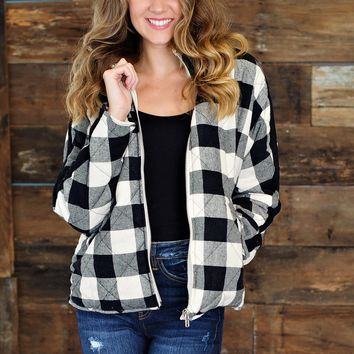 * Buffalo Grazing Plaid Jacket - Black & Cream