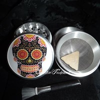 Sugar Skull Day Of The Dead 4 Piece Herb Grinder Grinders Pollen Screen from Cognitive Fashioned
