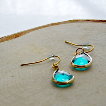 Glass Earrings Teardrop Blue Green Gold Hook Dangle Drop Earring Boho Chic Pierced Bridal Womens Bridesmaid Gift Birthday Raindrop Faceted