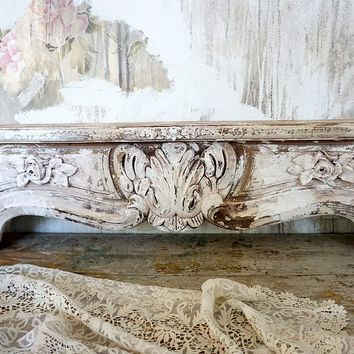 Ornate cornice style wall shelf distressed chippy painted with rose appliques