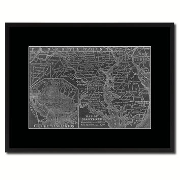 Maryland Vintage Monochrome Map Canvas Print, Gifts Picture Frames Home Decor Wall Art