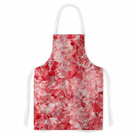 "Ebi Emporium""Bloom On! Red White "" Pink Abstract Artistic Apron"