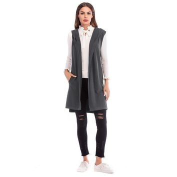 Winter Fashion Gray Hooded Sleeveless Green Long Sweater Solid Women Knit Autumn Cardigan Spring Vest Black Casual