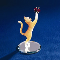 Tabby Cat With Butterfly Glass Figurine