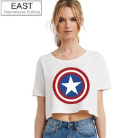 Summer Punk Women T Shirt Womens Captain America Logo Black T-shirt Punk Tee Plus Size Cheap Clothes