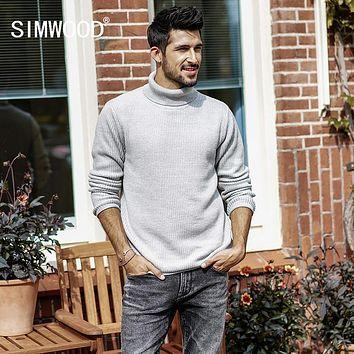 SIMWOOD Turtleneck Sweater Men Slim Fit 2017 Autumn Winter New Knitted Pullover High Quality Casual Warm Brand Clothing MT017031