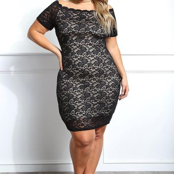 Off Shoulder Lace Overlay Plus Size Bodycon dress