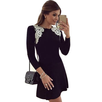 Brand new spring women lace stitching dress Sexy long sleeve round neck