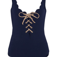 Marysia - Palm Springs lace-up scalloped swimsuit