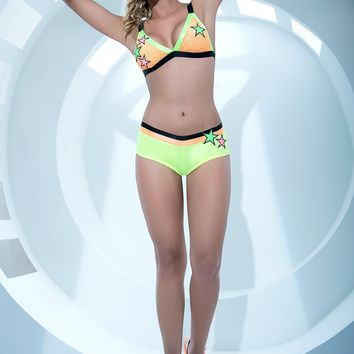 Neon Yellow Short Set With Stars Rave Outfits
