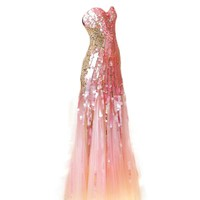 VILAVI Mermaid Strapless Sweetheart Sweep Tulle Sequin Crystal Prom Dresses