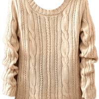 ROMWE | Twisted Knitted Cream Jumper, The Latest Street Fashion