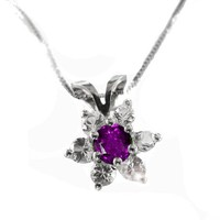 Amethyst Flower Pendant in 14K White gold, Including Venetian Box Chain 18 inches, 45cm Long Box chain, Gold Chain