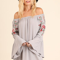 Woodstock Floral Embroidered Dress in Grey