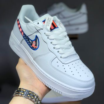 HCXX N1435 Nike Air Force 1 AF1 Embroidery rainbow logo Skate Shoes White