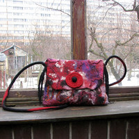 Burgundy Felted bag felt bag hand felted bag shoulder  felt handbag hand felted bag unique bag