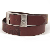 Minnesota Twins MLB Men's Embossed Leather Belt (Size 40)