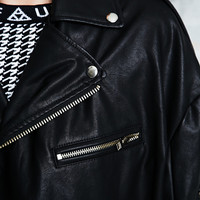 UNIF Slacker PU Motor Jacket in Black - Urban Outfitters