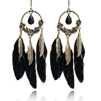 Streetstyle  Casual Bohemia Carved Feather Earring