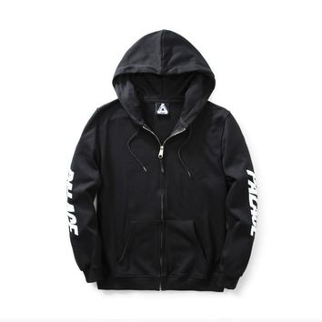 Tide card PALACE fashion letters autumn and winter men and women paragraph terry zipper cardigan hooded sweater jacket