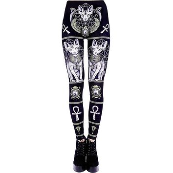 Restyle Sphynx Leggings Gothic Bastet Sphynx Cat Occult Goth Punk Leggings