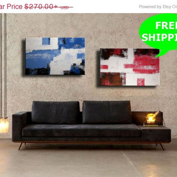 ON SALE Pink  Blue Textured Abstract Acrylic Painting on Canvas  Wall Decor Wall Art