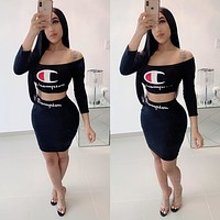 Champion Tide brand letter printed women's two-piece Black