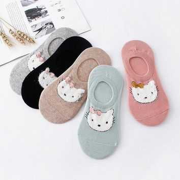 Small Animal Cat Women Slippers Socks Funny Crazy Cool Novelty Cute Fun Funky Colorful