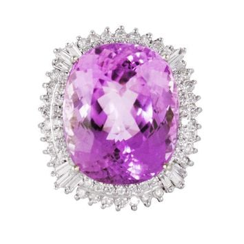 Kunzite and Fancy Diamond Cocktail Ring
