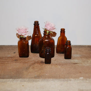 Vintage Bottles Amber Glass Bottles Vintage Medicine Bottles Brown Apothecary Jars Collection of 6 Glass Bottles Vases Wedding Decor