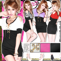 Rakuten: Sexy girl♪ lace up &cross charm dress- Shopping Japanese products from Japan