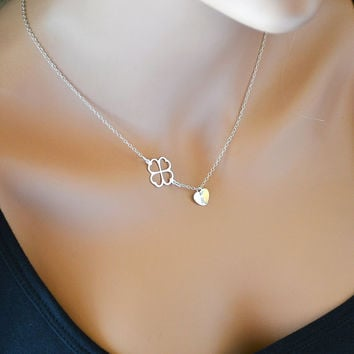 Clover Necklace, Four Leaf Clover Necklace with Initial Heart Charm, Sterling Silver Personalized Necklace Necklace