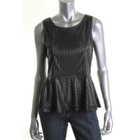 Romeo & Juliet Couture Womens Eyelet Sleeveless Peplum Top