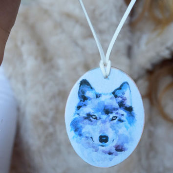 Wolf wood pendant-Wolf wooden necklace-Wild Animal jewelry-Wood jewelry-Woodland jewelry-Forest necklace-Blue pendant