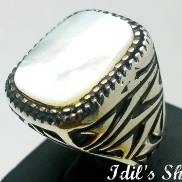 Men's Ring, Turkish Ottoman Style Jewelry, 925 Sterling Silver, Authentic Gift, Traditional Handmade, With Mother Of Pearl Stone, US Size 9