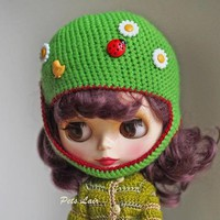green helmet of Blythe, outfit  dolls, hat Pulip, helmet Blythe, doll clothes crocheted handmade, hat for teddy bear, bjd hat SD+ / SD