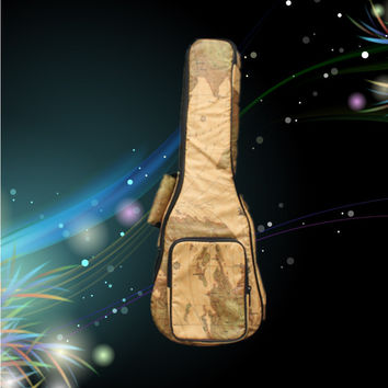 """New PU leather 21 23 24 26"""" soprano concert tenor ukulele bags soft gig backpack small guitar case pattern map cover kids gift"""